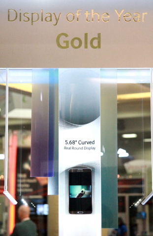 Samsung Display's 5.68-inch flexible display wins Display of Year award at Display Week 2014. (Photo ...