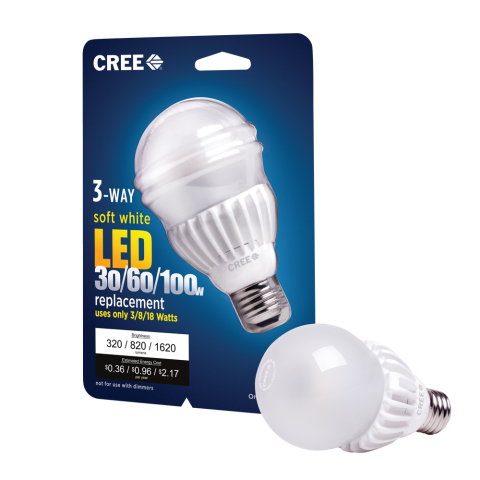 The new 3-Way Cree LED Bulb emits warm, incandescent-like light while consuming up to 90 percent les ...