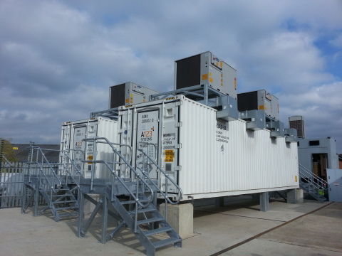 The 2.5MW/5MWh GSS installation at the Rise Carr substation in Darlington, U.K. [Photo: Business Wir ...