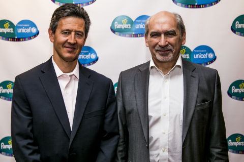 Matthew Price (Vice President, Babycare, Procter & Gamble) and Gerard Bocquenet (Director of Private Fundraising & Partnerships, UNICEF) at the announcement of the Pampers-UNICEF Life-Saving Journey: A roadmap for a ground-breaking public-private partnership (Photo: Business Wire)