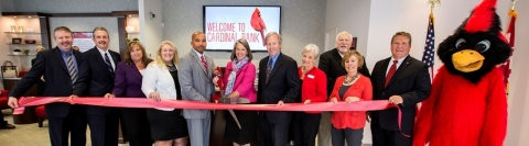 (L-R): Cardinal Bank Vice President and Commercial Loan Officer Jaimie Jacobson; Senior Vice President and Chief Information Officer Ralph Edwards; Senior Vice President and Director of Retail Banking Kelly Bell; Senior Vice President and Regional Sales & Service Manager Stephanie Lykins-Harvey; Rockville Banking Office Manager Andy Williams; City of Rockville Mayor Bridget Donnell Newton; Montgomery County Council Councilmember Phil Andrews; Maryland Deputy District Director for Outreach Karen McManus representing Congressman Chris Van Hollen, Family Services, Inc. Chief Executive Officer Thomas Harr; Rockville Chamber of Commerce President and Chief Executive Officer Andrea Jolly; Cardinal Bank Senior Vice President and Market Executive Rob Giraldi. (Photo: Galen Photography)
