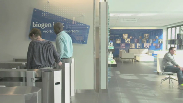 Biogen Idec's headquarters building, Cambridge, Mass. (Video: Biogen Idec)