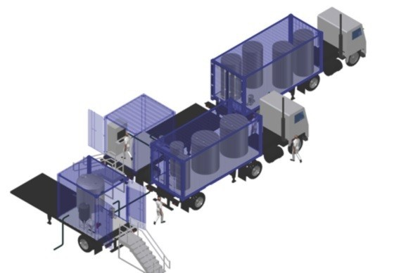 Early concept of the Kurion Mobile Processing System, which will be used at the Fukushima Daiichi Nuclear Power Plant to remove strontium from approximately 400,000 metric tons of water stored at the site. (Graphic: Business Wire)