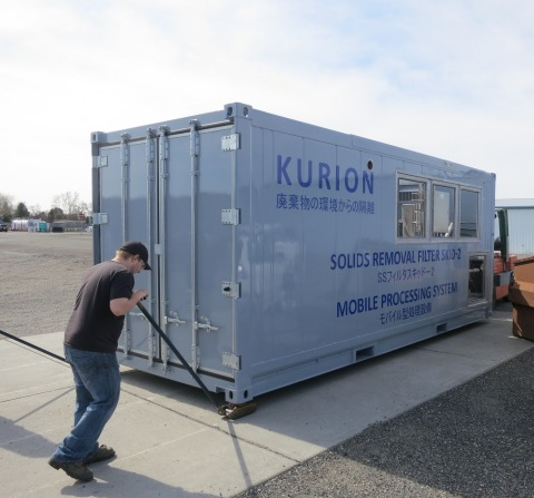 Container is part of the Kurion Mobile Process System that will be used at the Fukushima Daiichi Nuclear Power Plant to remove strontium from approximately 400,000 metric tons of tank water stored at the site. (Photo: Business Wire)