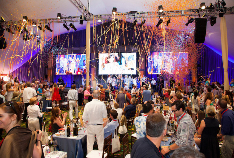 Confetti adorns the main tent at Auction Napa Valley 2014, the most successful fundraising year ever for hosts the Napa Valley Vintners. (Photo by Jason Tinacci for Napa Valley Vintners)