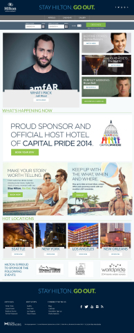 To kick off National LGBT Pride Month, Hilton Hotels & Resorts refreshed the Hilton.com/GoOut website to feature LGBT tastemakers sharing travel experiences, tips and unique content. (Graphic: Hilton Hotels & Resorts)