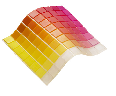 One of three new Stratasys flexible 72-color palettes composed of rubber-like (TangoPlus) and rigid  ...