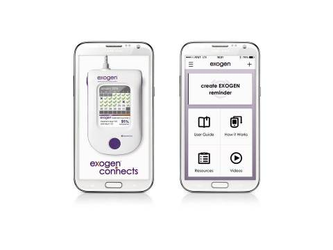 Splash page and home page from new EXOGEN® Ultrasound Bone Healing System smartphone app launched by Bioventus (Photo: Business Wire)
