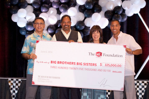 The Jack in the Box Foundation raised $325,000 for Big Brothers Big Sisters at its 24th annual Jack in the Box® Charity Golf Tournament, which was held June 6 in Indian Wells, California. Accepting the donation on behalf of Big Brothers Big Sisters was Deborah Condon, president and CEO of Big Brothers Big Sisters of San Diego County, who was joined by (from left) Reza Khajavi, president of the National Jack in the Box Franchise Association Board of Directors; Anil Yadav, chairman of the National Jack in the Box Franchise Association Board of Directors; and Lenny Comma, chairman and CEO of Jack in the Box Inc. The National Jack in the Box Franchise Association joined the Jack in the Box Foundation as co-title sponsor for this year's event. (Photo: Business Wire)