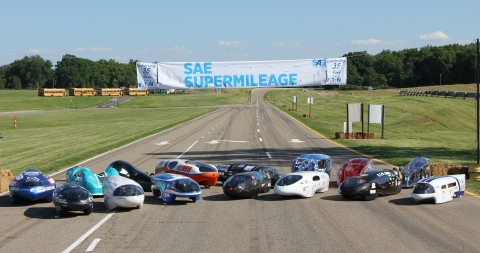 Eaton hosted the 35th anniversary SAE Supermileage competition at its Proving Grounds in Marshall, Michigan. Teams from 19 colleges in the U.S., Canada and Venezuela participated in the event, with five teams achieving more than 1,000 miles per gallon over the 9.6-mile course. (Photo: Business Wire)