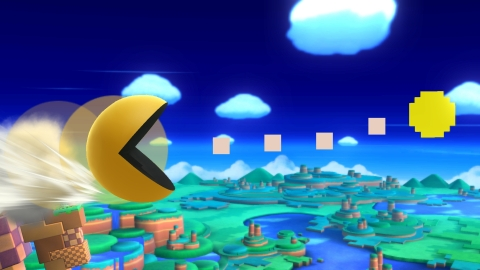 In the Super Smash Bros. games, PAC-MAN will generally maintain his humanoid shape, but when using specific attack moves, PAC-MAN transforms into the iconic yellow round shape he had in his arcade debut in 1980. (Photo: Business Wire)