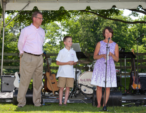 Matt, Jenny and Freddy Hubbard addressing guests at Catherine's Butterfly Party on June 8, 2014. (Photo: Marleen Cafarelli of Photo & Video Art Works)