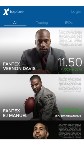 The Fantex free mobile app is the only app featuring real-time stock prices for Fantex, Inc. stocks. (Photo: Business Wire)