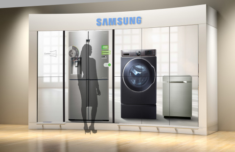 Samsung Electronics America, Inc., America's fastest growing appliance brand and a global category leader, is taking innovation in the home appliance category beyond physical products and into the retail realm with CenterStage(TM). The new concept showcases Samsung's portfolio of appliances in an ultra-realistic and life-size display with an intuitive touch-screen interface. (Photo: Business Wire)