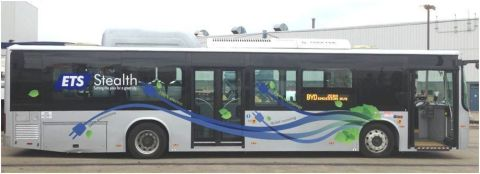 Edmonton Transit's Stealth Bus is a 40-foot (12 meter) long, all-electric Bus manufactured by BYD Company that can travel up to 24 hours on a single night-time charge. (Photo: Business Wire)