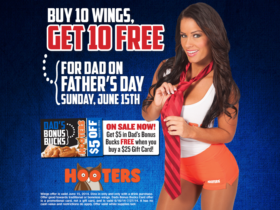 Hooters celebrates dads on Father's Day with a buy 10, get 10 free wings deal. (Graphic: Business Wire)