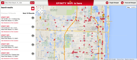 Comcast has deployed Xfinity WiFi hotspots in outdoor locations throughout Palm Beach County, in key areas that allow consumers to access and use the Internet whenever they need. (Photo: Business Wire)
