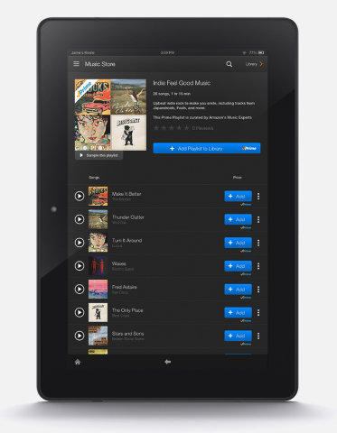 Introducing Prime Music: over one million songs, hundreds of playlists, unlimited listening, no ads, free with Amazon Prime -- available automatically on Kindle Fire HD/HDX or download the latest Amazon Music app for iOS or Android. (Photo: Business Wire)
