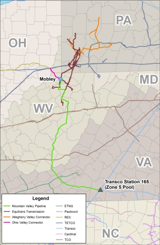 Mountain Valley Pipeline Project Map (Graphic: Business Wire)