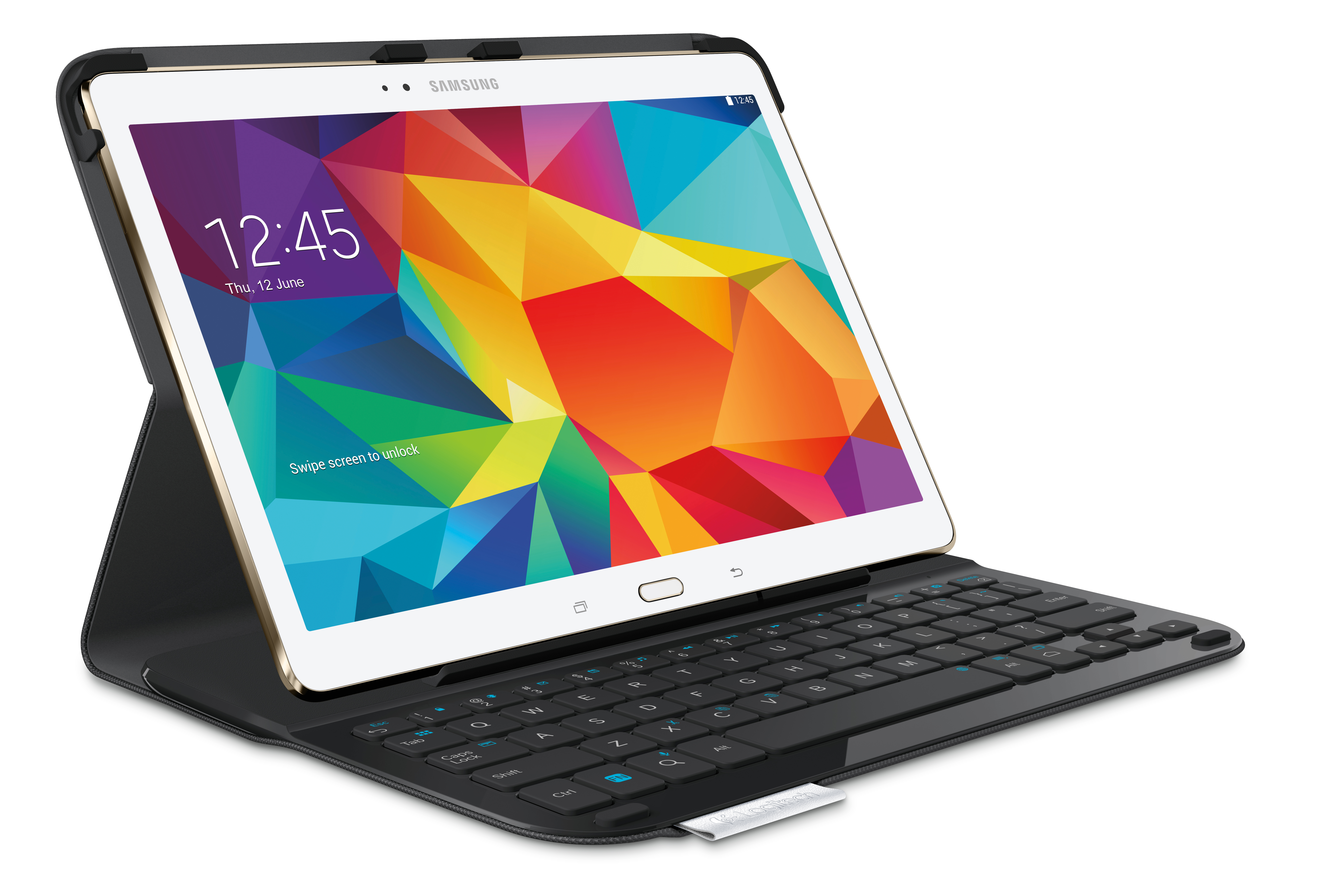 The Logitech Type-S is a thin and light protective keyboard case for your Samsung Galaxy Tab S 10.5-inch. The Logitech Type-S features a built-in Bluetooth enabled keyboard with well-spaced keys, Android shortcuts and versatile viewing positions, giving you added functionality and protection for your tablet. (Photo: Business Wire)