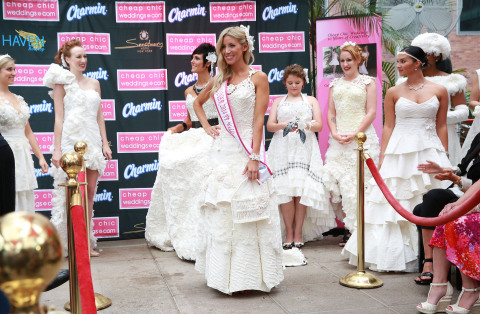 Susan Brennan, the winner of the 10th Annual Cheap Chic Weddings Toilet Paper Wedding Dress Contest, shows off her gown made of 20 rolls of Charmin Ultra Soft. (Photo: Business Wire)