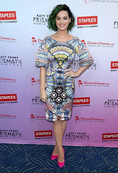 "Katy Perry at the Staples ""Make Roar Happen"" press conference held on Thursday, June 12th, 2014 at NOKIA Theatre L.A. Live. Staples continued its commitment to education by donating $1 million dollars to DonorsChoose.org to support classroom projects. (Photo by Matt Sayles/Invision for Staples/AP Images)"