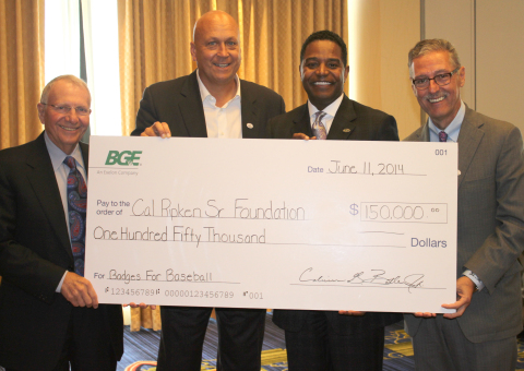 BGE teams up with the Cal Ripken, Sr. Foundation and provides $150,000 in support of the Badges for Baseball program which pairs police officers and at-risk youth together to build relations, play and learn. Pictured left to right: Jay Baker, Co-Founder of Kohl's Department Stores, Cal Ripken, Sr. Foundation Immediate Past Board Chairman, Cal Ripken, Jr., Calvin G. Butler, Jr., CEO, BGE, and Mark Butler, President and CEO of Ollie's Bargain Outlet, Cal Ripken, Sr. Foundation Chairman (Photo: Business Wire)