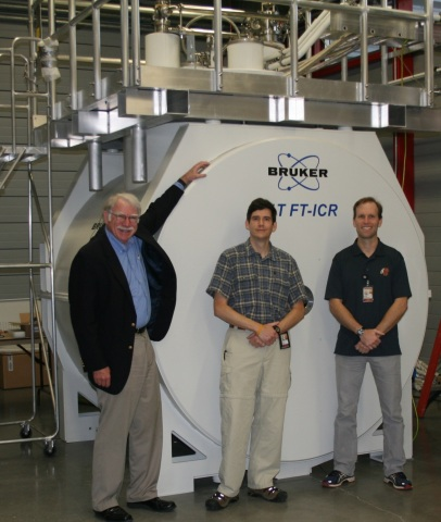 Pictured with the Bruker 21 Tesla FT-ICR magnet at the NHMFL lab are (from left to right): Professor Alan Marshall, the Robert O. Lawton Professor of Chemistry and Biochemistry at Florida State University and Director of the High Field FT-ICR program at the NHMFL; John Quinn, 21 T FT-ICR engineering lead at NHMFL; Dr. Chris Hendrickson, 21 T FT-ICR project advisor at the NHMFL. (Photo: Business Wire)