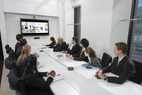 For video conferencing on a larger scale, external speakers and up to four additional YVC-MIC1000EX microphones can be added to cover a wider area and accommodate more conference participants. (Photo: Business Wire)