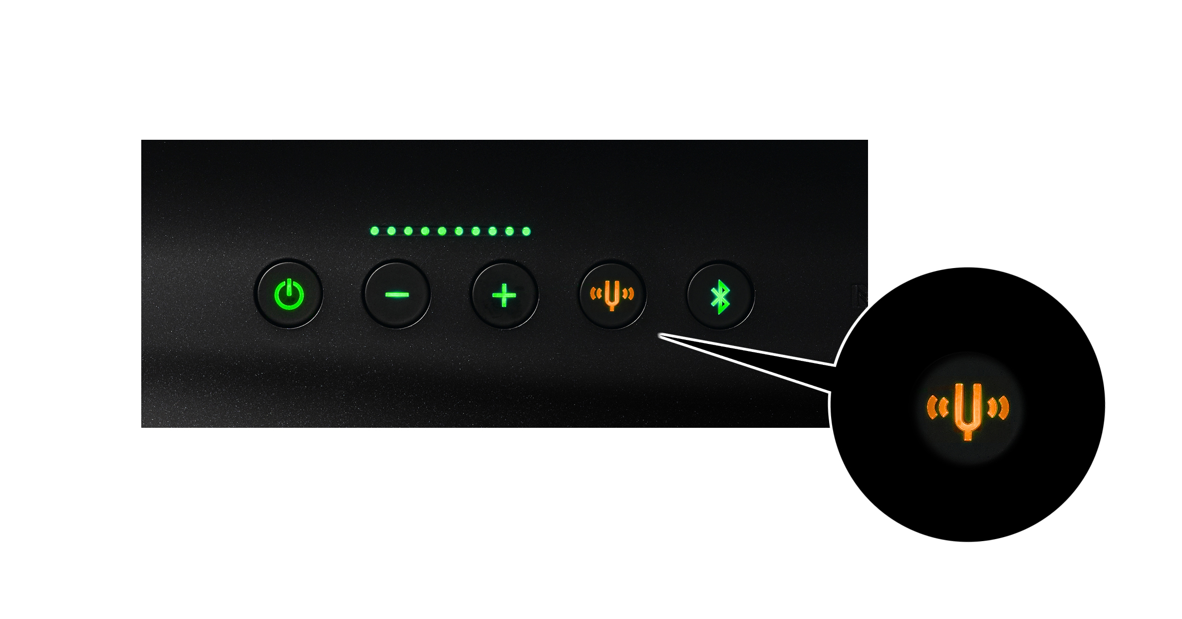 Simply pressing the tuning fork button activates the automatic acoustic adjustment function of YVC-1000, immediately optimizing the acoustic settings for your current environment. (Photo: Business Wire)