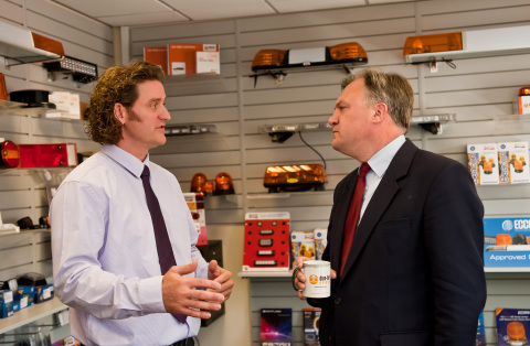 Andrew Strath, the Group Managing Director of Dun-Bri Group, with the Shadow Chancellor, Ed Balls MP during his visit to Dun-Bri Yorkshire (Photo: Business Wire)
