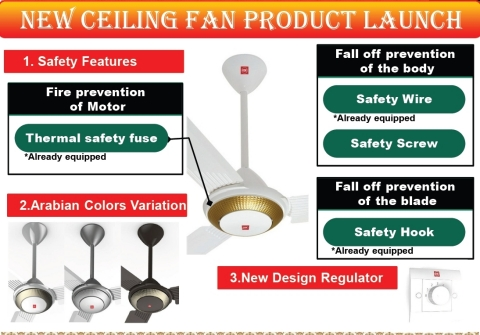 New Ceiling Fans Featuring Safety and Design (Graphic: Business Wire)