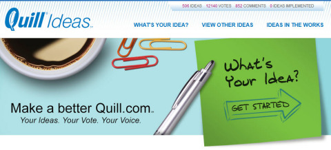 Quill Ideas, an online-innovation community that formally launches today, will solicit and implement ideas from Quill.com's customers and employees.  (Graphic: Business Wire)