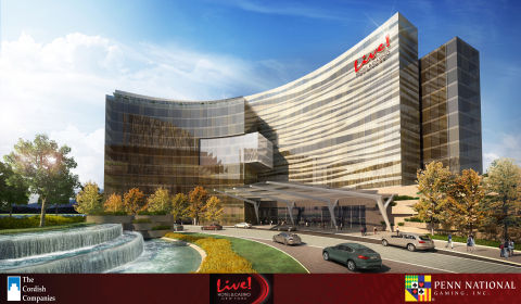 """The Cordish Companies and Penn National Gaming today released details of their proposed """"Live! Hotel & Casino New York."""" The $750 million project, located in Orange County, New York, in the Village of South Blooming Grove, includes an upscale boutique hotel with over 300 rooms and suites; a destination spa and fitness center; over 3,000 slot machines; more than 250 live table games, including poker; several marquee restaurants; as well as a live entertainment venue and a spacious conference center. The property will be owned and managed by a 50/50 joint venture between the companies. For complete information, visit www.livehotelcasinony.com (Photo: Business Wire)"""