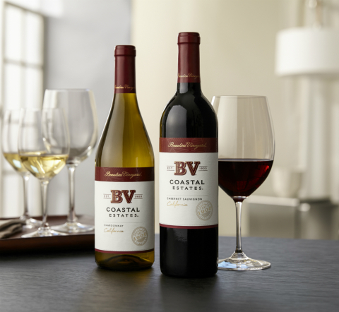 The reinvented BV Coastal Estates Chardonnay (left) and Cabernet Sauvignon (right) have an emphasis on quality and craftsmanship with new packaging to match. (Photo: Business Wire)