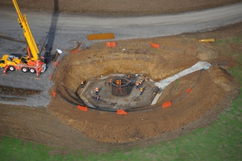 The foundation work for one of Taralga's wind towers on CBD's 107 MW wind farm under construction at Targala in New South Wales, Australia. (Photo: Business Wire)