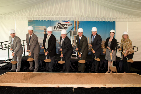 State and local officials joined Chevron Phillips Chemical Company for the groundbreaking of two new polyethylene units.  Pictured from left to right: Texas State Representative Dennis Bonnen; Executive Vice President of Chevron Downstream & Chemicals Michael Wirth; Brazoria County Commissioner Larry Stanley; Chevron Phillips Chemical Sweeny Plant Manager Wayne McDowell; President & CEO of Chevron Phillips Chemical Peter Cella; President of Phillips 66 Tim Taylor; representing U.S. Senator John Cornyn's office: Rachel David; representing Congressman Randy Weber's office: Dodie Armstrong. (Photo: Business Wire)