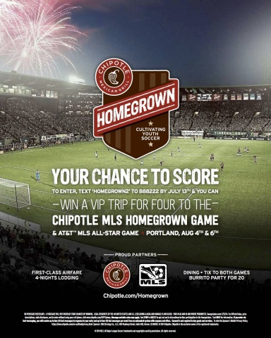 Chipotle celebrates MLS partnership with contest offering VIP getaway to 2014 MLS All-Star Week (Pho ...