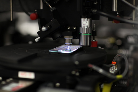 A photograph of the laser writing setup. Credit: Jerome Lapointe