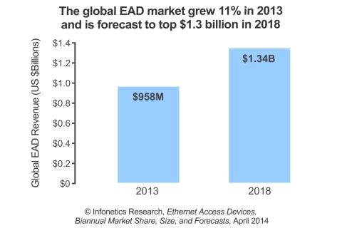 Actelis, Adva, Ciena, Overture, and RAD (in alphabetical order) lead the EAD market (all 5 companies topped the leaderboard in both 2012 and 2013), reports Infonetics. (Graphic: Infonetics Research)