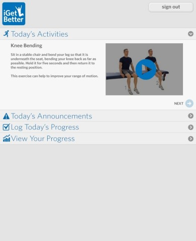 iGB Mobile Patient App presents TKR Care Plan to patients (Photo: Business Wire)