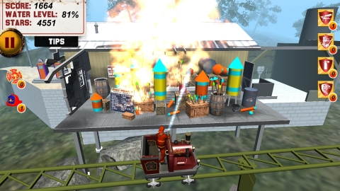 Gamers race to put out a fire at Crazy Charlie's Gas & Fireworks Emporium in Dollywood's new FireCha ...