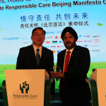 Axalta Vice Presidents Sobers Sethi and Allan Tsai with Responsible Care Beijing Ma