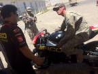 GEICO Honda Team road racers Jake Zemke and Chris Ulrich teach motorcycle safety skills to U.S. servicemen and servicewomen stationed at Camp Roberts near San Luis Obispo, Calif. (Photo: Business Wire)