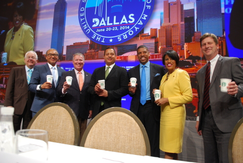 Starbucks and the U.S. Conference of Mayors (USCM) launch Solutions CitySM at the 82nd Annual Meeting of the USCM in Dallas. Through this one-of-a-kind initiative, mayors and citizens in five cities will meet at their local Starbucks stores to identify and tackle civic challenges. From left to right, Tom Cochran, CEO of USCM, Columbus Mayor Michael Coleman, Orlando Mayor Buddy Dyer, Starbucks chief community officer Blair Taylor, USCM President Sacramento Mayor Kevin Johnson, Baltimore Mayor Stephanie Rawlings-Blake, and Phoenix Mayor Greg Stanton (Photo credit: U.S. Mayor)