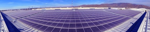 A photo taken using a fish-eye lens shows a portion of a 1.16-MW solar system in Tijuana, Mexico, the largest system of its kind in Latin America. The systems features solar panels, racking and system engineering from SolarWorld, whose distributors and sales representatives have operated in Latin America since the late 1970s. (Photo: Business Wire)