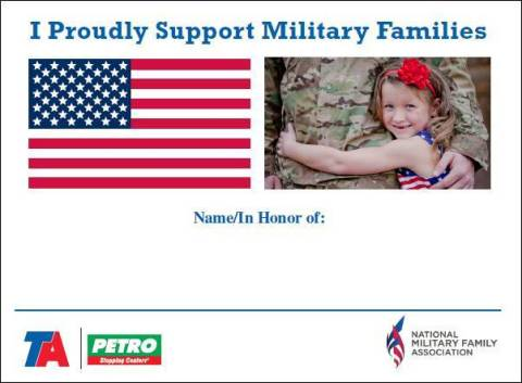 Image of Paper Flag whereby guests can donate at TA and Petro full-service restaurants and write in their name or the name of military personnel they wish to honor. (Graphic: Business Wire)