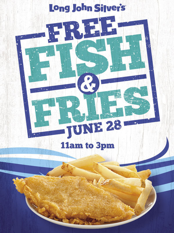 Long John Silver's will treat every guest who visits its stores on Saturday, June 28th from 11 AM to 3 PM to Free Fish & Fries. (Photo: Business Wire)