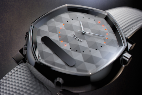 """Intuitively displays information with the LED embedded watch face. Designed to create time away from your smartphone, """"VELDT SERENDIPITY"""" smartwatch. (Photo: Business Wire)"""