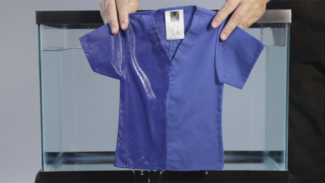 The new Baptist Health-adopted staff uniforms, featuring Vestex® textile technology, provide a durable fluid barrier proven to repel bodily fluids, water, oil and dirt, while minimizing the retention and risk of transmission of organisms. This video demonstrates the technology's capabilities, which are featured on the right side of the fabric versus traditional untreated fabric on the left. More than 6,000 Baptist Health inpatient staff will initially receive uniforms, which are made from a special breathable material for optimal wearer comfort.